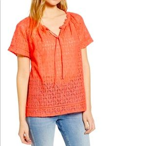 Hinge Lace Popover Coral Blouse